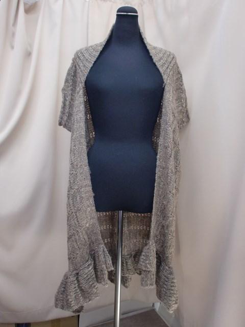 セール (人気激安) 特集 毛100%ミックスブラウンカラー裾フリル路オングニットベスト アウトレット SALE 新品