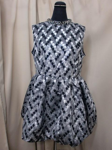 ネックビジューノースリーブ裾バルーンミニドレス 新品 アウトレット SALE 店舗 新作多数