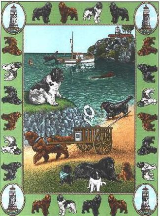 【犬種多数 アメリカより取寄せ対応-納期3か月】ゴブラン織りのタペストリー ニューファン W127×H206cm 犬の刺繍が素敵なラグ ベッドカバー ソファーカバー 新築祝い 贈り物 お返し ルシアン 送料無料