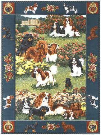 【犬種多数 アメリカより取寄せ対応-納期3か月】ゴブラン織りのタペストリー キャバリア W127×H201cm 犬の刺繍が素敵なラグ ベッドカバー ソファーカバー 新築祝い 贈り物 お返し ルシアン 送料無料
