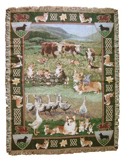 【即納できます】ゴブラン織りのタペストリー コーギー W127×H202cm 犬の刺繍が素敵なラグ ベッドカバー ソファーカバー 新築祝い 贈り物 お返し ルシアン 送料無料