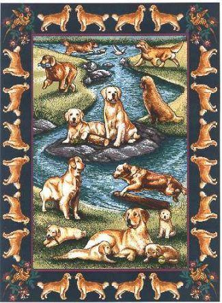 【犬種多数 アメリカより取寄せ対応-納期3か月】ゴブラン織りのタペストリー ゴールデンレトリバー W127×H180cm 犬の刺繍が素敵なラグ ベッドカバー ソファーカバー 新築祝い 贈り物 お返し ルシアン 送料無料
