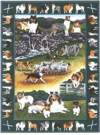 【犬種多数 アメリカより取寄せ対応-納期3か月】ゴブラン織りのタペストリー コリー W127×H181cm 犬の刺繍が素敵なラグ ベッドカバー ソファーカバー 新築祝い 贈り物 お返し ルシアン 送料無料