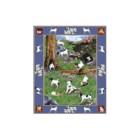 ゴブラン織りのタペストリー ジャックラッセル W127×H184cm 犬の刺繍が素敵なラグ ベッドカバー ソファーカバー 新築祝い 贈り物 お返し ルシアン 送料無料