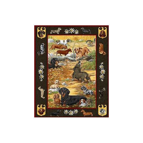 【犬種多数 アメリカより取寄せ対応-納期3か月】ゴブラン織りのタペストリー ダックスフンド W127×H185cm 犬の刺繍が素敵なラグ ベッドカバー ソファーカバー 新築祝い 贈り物 お返し ルシアン 送料無料