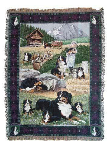 【犬種多数 アメリカより取寄せ対応-納期3か月】ゴブラン織りのタペストリー バーニーズ W127×H189cm 犬の刺繍が素敵なラグ ベッドカバー ソファーカバー 新築祝い 贈り物 お返し ルシアン 送料無料