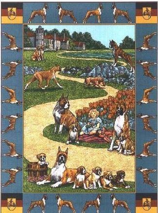 【犬種多数 アメリカより取寄せ対応-納期3か月】ゴブラン織りのタペストリー ボクサー W127×H190cm 犬の刺繍が素敵なラグ ベッドカバー ソファーカバー 新築祝い 贈り物 お返し ルシアン 送料無料