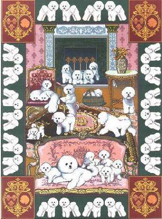 【犬種多数 アメリカより取寄せ対応-納期3か月】ゴブラン織りのタペストリー ビションフリーゼ W127×H193cm 犬の刺繍が素敵なラグ ベッドカバー ソファーカバー 新築祝い 贈り物 お返し ルシアン 送料無料