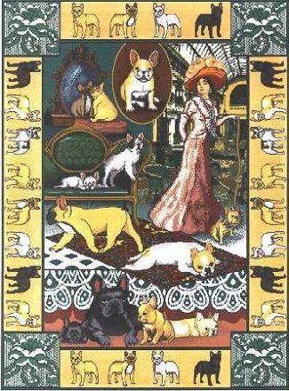 【犬種多数 アメリカより取寄せ対応-納期3か月】ゴブラン織りのタペストリー フレンチブルドッグ W127×H195cm 犬の刺繍が素敵なラグ ベッドカバー ソファーカバー 新築祝い 贈り物 お返し ルシアン 送料無料