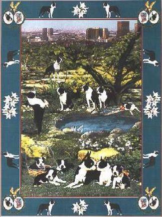 【犬種多数 アメリカより取寄せ対応-納期3か月】ゴブラン織りのタペストリー ボストンテリア W127×H197cm 犬の刺繍が素敵なラグ ベッドカバー ソファーカバー 新築祝い 贈り物 お返し ルシアン 送料無料
