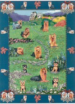 【即納できます】ゴブラン織りのタペストリー ヨークシャーテリア W127×H199cm 犬の刺繍が素敵なラグ ベッドカバー ソファーカバー 新築祝い 贈り物 お返し ルシアン 送料無料