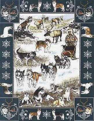 【犬種多数 アメリカより取寄せ対応-納期3か月】ゴブラン織りのタペストリー シベリアンハスキー W127×H192cm 犬の刺繍が素敵なラグ ベッドカバー ソファーカバー 新築祝い 贈り物 お返し ルシアン 送料無料