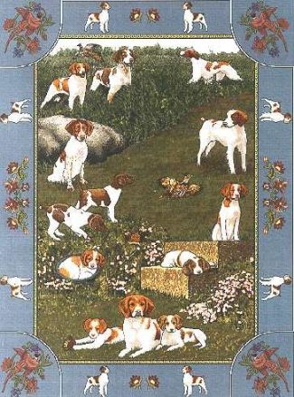 【犬種多数 アメリカより取寄せ対応-納期3か月】ゴブラン織りのタペストリー ブリタニースパニエル W127×H198cm 犬の刺繍が素敵なラグ ベッドカバー ソファーカバー 新築祝い 贈り物 お返し ルシアン 送料無料