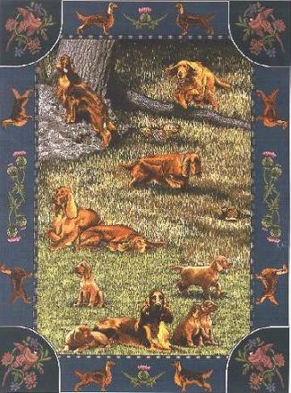 【犬種多数 アメリカより取寄せ対応-納期3か月】ゴブラン織りのタペストリー アイリッシュ ・セターW127×H204cm 犬の刺繍が素敵なラグ ベッドカバー ソファーカバー 新築祝い 贈り物 お返し ルシアン 送料無料