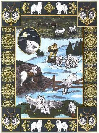 【犬種多数 アメリカより取寄せ対応-納期3か月】ゴブラン織りのタペストリー サモエド W127×H205cm 犬の刺繍が素敵なラグ ベッドカバー ソファーカバー 新築祝い 贈り物 お返し ルシアン 送料無料
