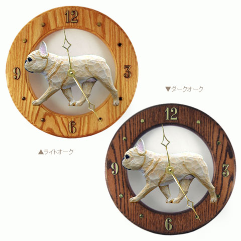 【フレンチブルドッグ】美しい木製のムーブメントに樹脂製のフィギュアを合わせた壁掛け時計です。 時計 壁掛け ウォールクロック 【フレンチブルドッグ(フォーン)】from USA 犬グッズ インテリア 新築祝い 開店祝い 引越し祝い 犬 記念品 プレゼント ギフト お返し アニマル雑貨ルシアン