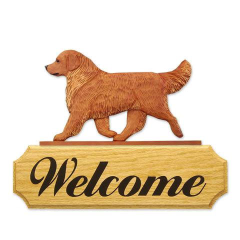 【送料無料】ウェルカムサイン 【ゴールデン(ゴールド)】from USA (犬グッズ ウェルカムボード オーナーグッズ 玄関 開店祝い 犬雑貨 インテリア 看板 玄関グッズ セキュリティーグッズ) 卒業式 プレゼント ギフト お返し ルシアン
