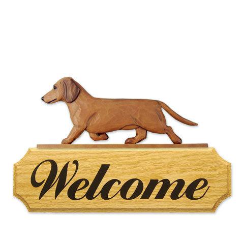 【送料無料】ウェルカムサイン 【ダックス(スムース)(レッド)】from USA (犬グッズ ウェルカムボード オーナーグッズ 玄関 開店祝い 犬雑貨 インテリア 看板 玄関グッズ セキュリティーグッズ) 卒業式 プレゼント ギフト お返し ルシアン