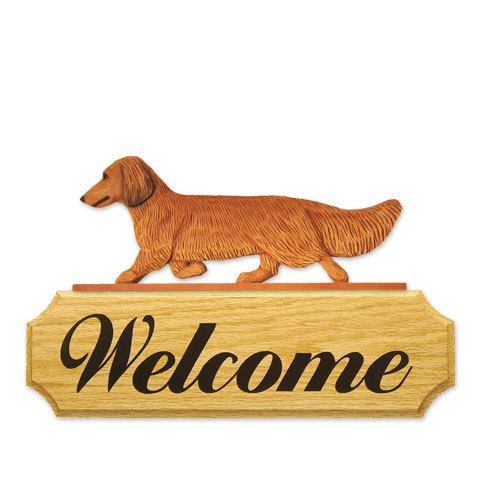 【送料無料】ウェルカムサイン 【ダックス(ロング)(レッド)】from USA (犬グッズ ウェルカムボード オーナーグッズ 玄関 開店祝い 犬雑貨 インテリア 看板 玄関グッズ セキュリティーグッズ) 卒業式 プレゼント ギフト お返し ルシアン