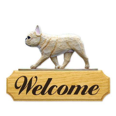 【送料無料】ウェルカムサイン 【フレブル(フォーン)】from USA (犬グッズ ウェルカムボード オーナーグッズ 玄関 開店祝い 犬雑貨 インテリア 看板 玄関グッズ セキュリティーグッズ) 卒業式 プレゼント ギフト お返し ルシアン