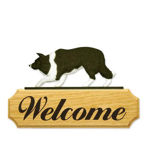 【送料無料】ウェルカムサイン 【ボーダー・コリー(白黒)】from USA (犬グッズ ウェルカムボード オーナーグッズ 玄関 開店祝い 犬雑貨 インテリア 看板 玄関グッズ セキュリティーグッズ) 卒業式 プレゼント ギフト お返し ルシアン