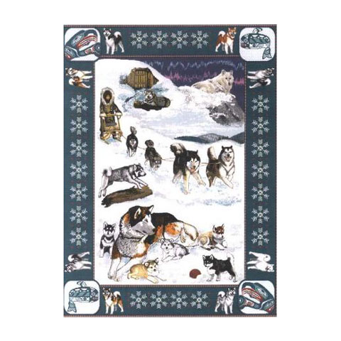 【犬種多数 アメリカより取寄せ対応-納期3か月】ゴブラン織りのタペストリー イアラスカンマラミュート W127×H207cm 犬の刺繍が素敵なラグ ベッドカバー ソファーカバー 新築祝い 贈り物 お返し ルシアン 送料無料