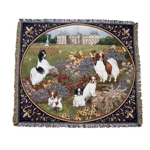 【犬種多数 アメリカより取寄せ対応-納期3か月】ゴブラン織りのタペストリー  パピヨン W152 x H124cm 犬の刺繍が素敵なラグ ベッドカバー ソファーカバー 新築祝い 贈り物 お返し ルシアン