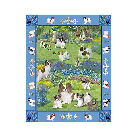 【犬種多数 アメリカより取寄せ対応-納期3か月】ゴブラン織りのタペストリー イパピヨン W127×H209cm 犬の刺繍が素敵なラグ ベッドカバー ソファーカバー 新築祝い 贈り物 お返し ルシアン 送料無料