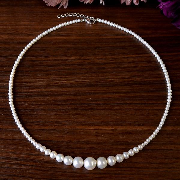 8mm特級ホワイト淡水真珠グラデーションネックレス 選り抜きの美しいパール