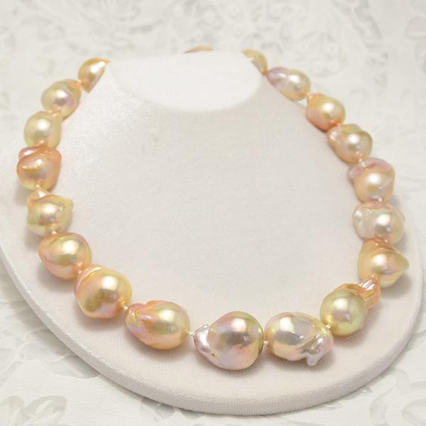 ナチュラルマルチカラー 特大 バロック 淡水真珠 ネックレス 迫力サイズとてらてら虹色のゴージャスな1本!
