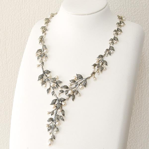 ホワイトパール マーカサイト ネックレス 可憐な淡水真珠とシックなマルカジットのアンティークスタイルジュエリー KA37