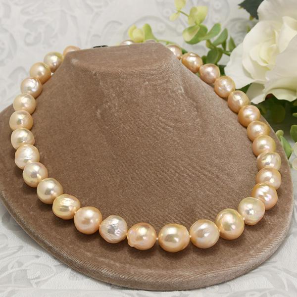 特大15mm 淡水真珠 ネックレス ゴージャスな特級てりのナチュラルカラーバロックパール