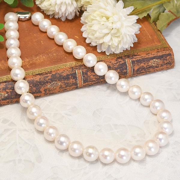 12mm 淡水真珠 ネックレス てりってりの王道ホワイト 迫力の特大珠にシャープな輝き