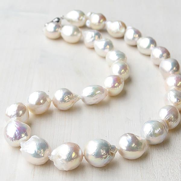 15mm バロック 淡水真珠 ネックレス てりてり虹色浮かぶ大珠バロック!