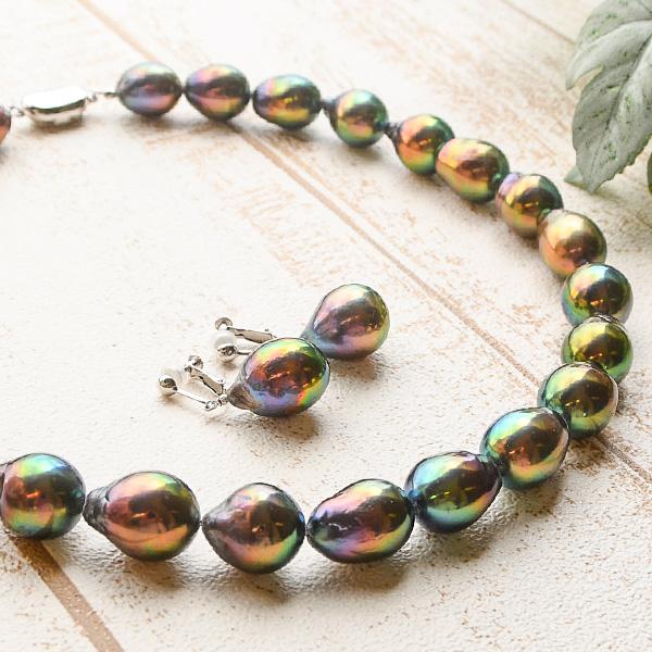 特大 バロック 淡水真珠 ネックレス イヤリング/ピアス セット ぎらぎらとメタリックに輝くミステリアスカラー