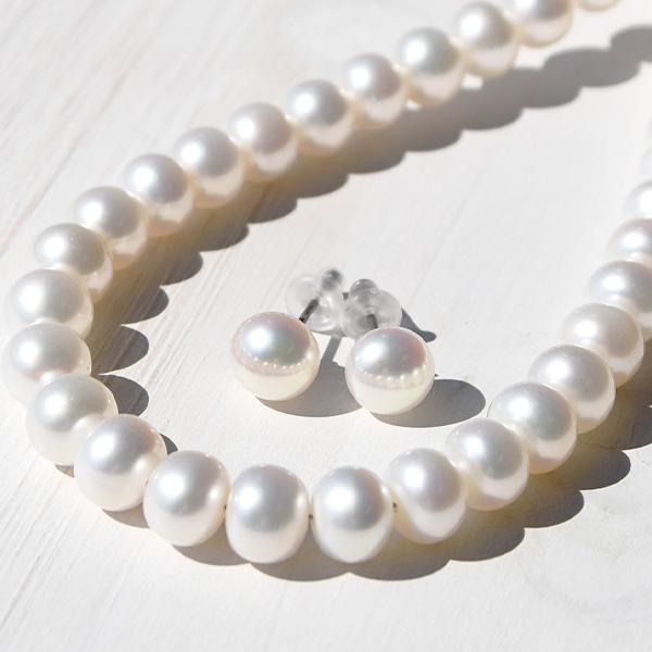 7mm ホワイト 淡水真珠 ネックレス ピアス/イヤリング セット 透明感ある上質の輝き 冠婚葬祭に使えるピュアホワイト フォーマル