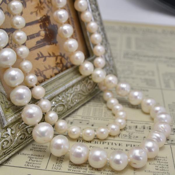 10mm淡水真珠グラデーションロングネックレス