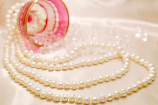 White Freshwater Pearl long necklace ♪ relaxing 2-super long 160 cm! Genuine Pearl-worn feel free to!