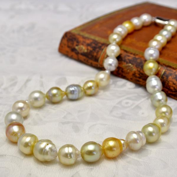 11mm ナチュラルマルチカラー 白蝶真珠 ネックレス てり良し華やか! お得なお手頃価格南洋真珠