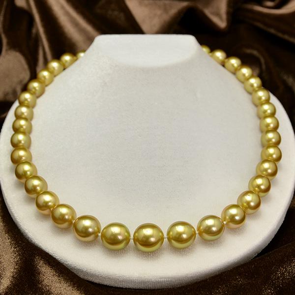 13mmゴールド白蝶真珠K18YGネックレス 49cm 鑑別書付 発色美しいナチュラルゴールド茶金 別格の輝き