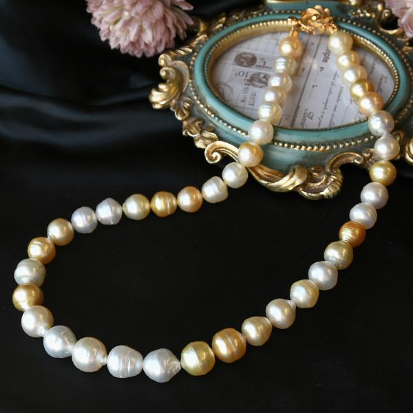 【サイズアップ】13mm マルチカラー バロック 白蝶真珠 ネックレス 美しいナチュラルカラー SUFNPU