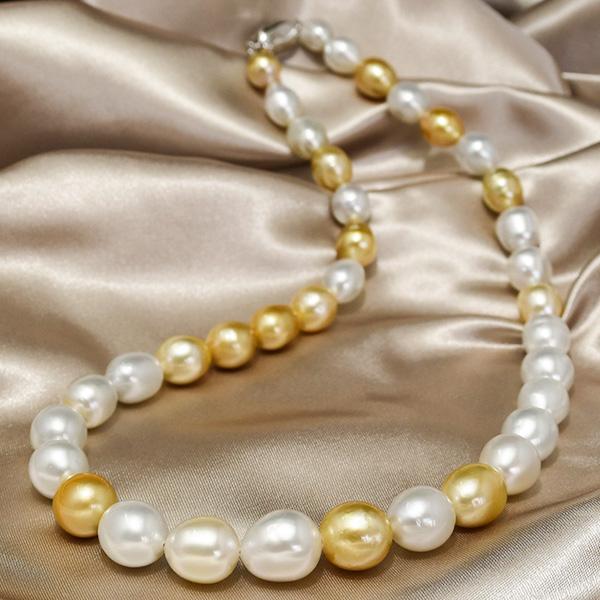 12mm バロック白蝶真珠 クリスマスカラー ネックレス ゴージャスなデコルテに