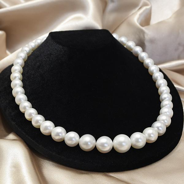 14mm ラウンド 白蝶真珠 ネックレス 気品に満ちたホワイト大珠南洋真珠