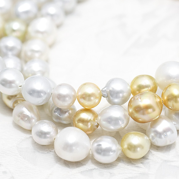 11mm マルチカラー バロック 白蝶真珠 ロングネックレス 美しいナチュラルカラー NA18