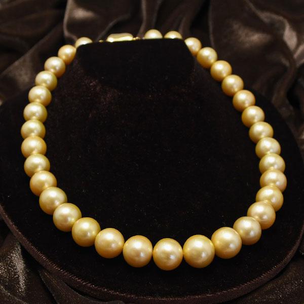 14mm ゴールド 白蝶真珠 ネックレス 大珠 金真珠 の美しいグラデーション