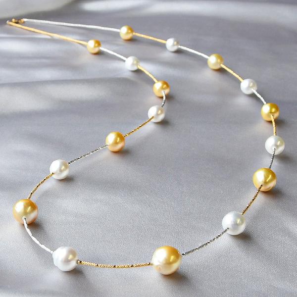 マルチカラー 白蝶真珠 K18 ロングネックレス ゴールド×ホワイトの華やか南洋真珠と繊細なゴールドのきらめき CON 池袋店オススメ商品