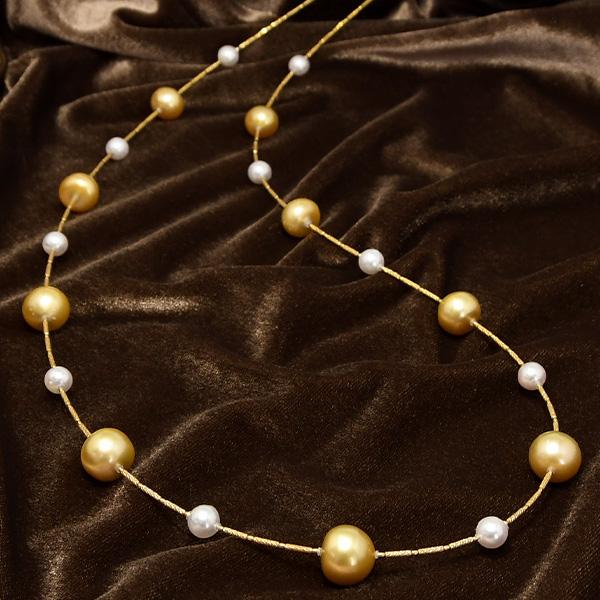 ゴールド白蝶真珠 アコヤ真珠 K18 ロングネックレス 13mm ゴールド×ホワイトのリッチで繊細なきらめき CON 池袋店オススメ商品