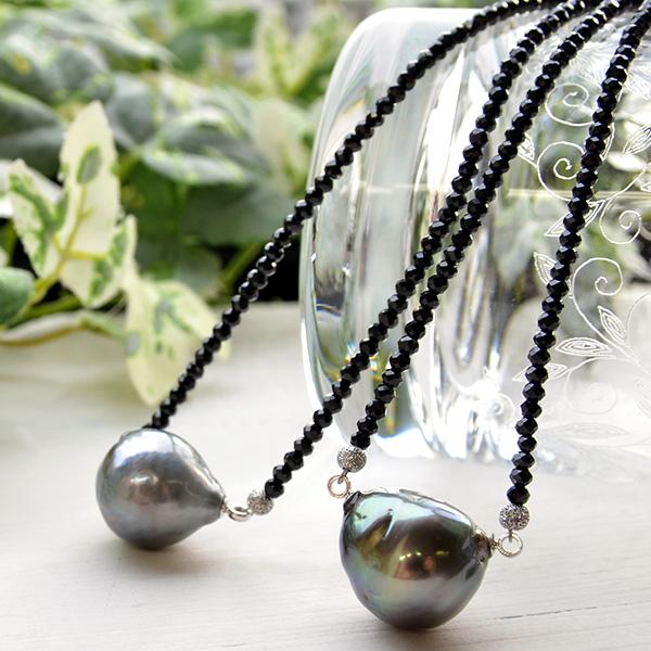 【サイズアップ版】16mm バロック 黒蝶真珠 ブラックスピネル ネックレス てりってり華やかな超特大!