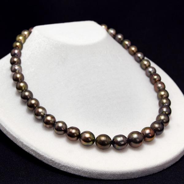 11mm ブロンズレッド 黒蝶真珠 ネックレス テリ良しレアカラー 極上レッド