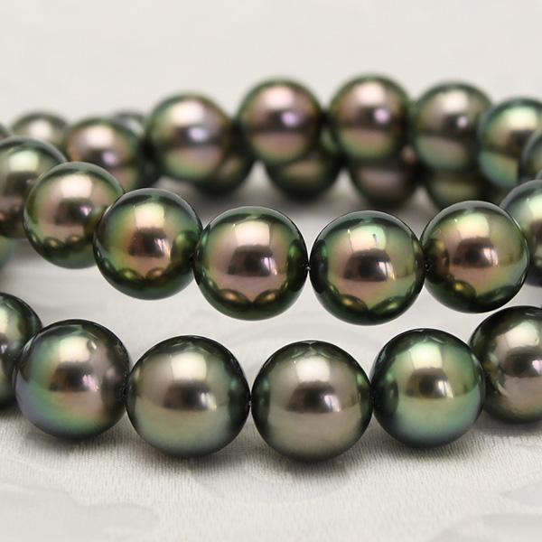 特級 11mm ピーコックグリーン 黒蝶真珠 ネックレス 鑑別書付 鮮やかに輝く厚巻良質真珠!